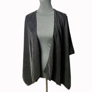 JANICE Black Open Front Box Sleeve Cape